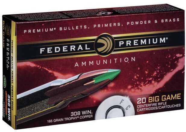 Federal Ammo .308 Win 165 Gr. Trophy Copper 20/ Box Md: P308TC2
