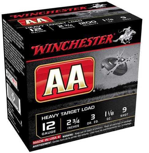 "Winchester AA Heavy Target Load 12 Gauge 2 3/4"" 1-1/8Oz #9 Shot (Per 25) Md: AAM129"