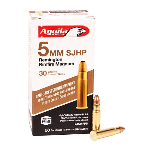 Aguila Ammunition 5mm Remington Rimfire Magnum 30 Grains, Semi-Jacketed Hollow Point, Per 50