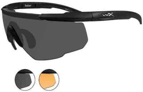 Wiley X Saber Advanced Sunglasses Matte Black Frame, Light Rust and Smoke Gray Lens