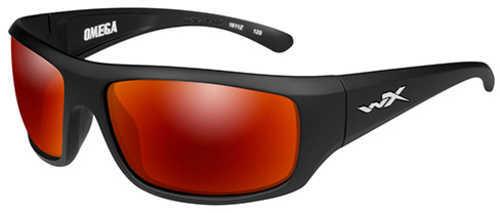 Wiley X WX Omega Sunglasses Matte Black Frame, Polarized Crimson Mirror Lens
