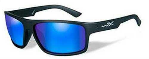 Wiley X WX Peak Sunglasses Matte Black, Polarized Blue Mirror Lens