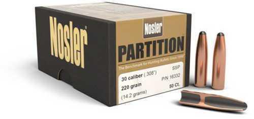 Nosler Partition Spitzer 30 Caliber 220 Grain 50/Box Md: 16332 Bullets
