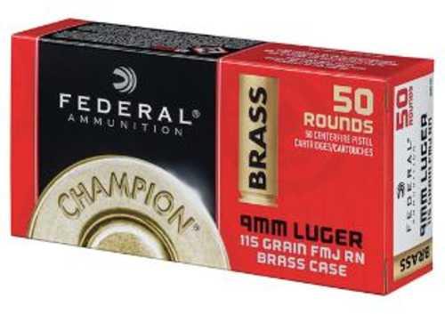 Federal Champion 9mm 115 Grain JMJ 50 Box Ammunition