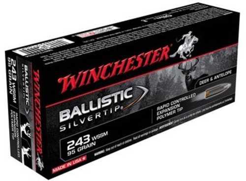 Winchester 243 WSSM 95 Grain Ballistic Silvertip Ammo 20 rds Per Box SBST243Ssa