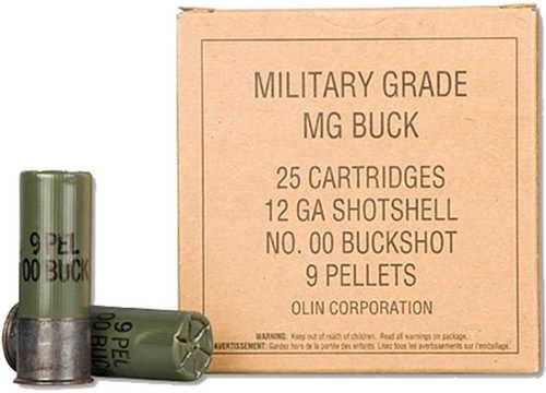 "Winchester Military Grade Shotshells 12 Gauge 2.75"" 9 Pellets 00 Buck Shot 25 Rounds"