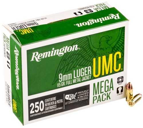 9MM Luger 115 FMJ 250 Rounds Mega Pack Ammunition Remington