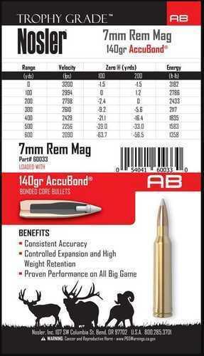 Nosler 7mm Remington Magnum 140 Grain Accubond (Per 20) Md: 60033 Ammunition