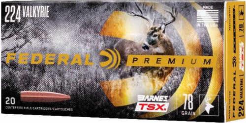 Federal Premium Barnes 224 Valkyrie 78 Grain Triple Shock X 20 Round Box P224VLKBTSX1