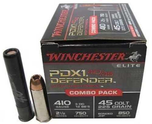 "Winchester Ammo Defender 410 / 45 Colt (LC) 2.5"" 1/2 oz 3 Defense Discs / 12 BBs Shot 20 Box"