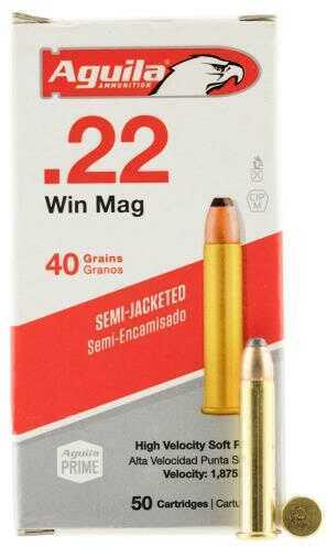Aguila Ammunition .22 Winchester Magnum Rimfire Silver Eagle Ammunition, 40 Grains, JHP, Per 50