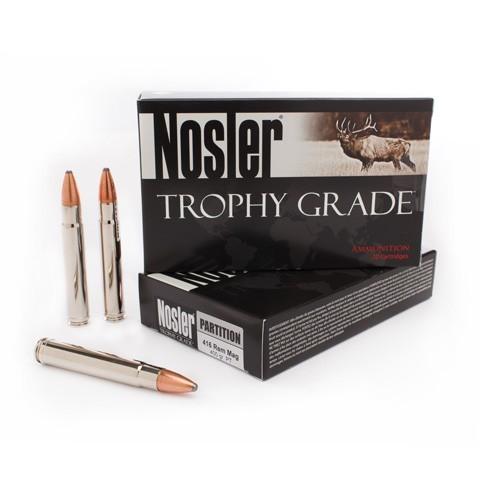 Nosler Trophy Grade 416 Remington Mag 400 Grain Partition Spitzer Bullet and Nosler Cartridge Brass 20 Rounds