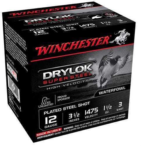 "Winchester Ammo Ssh12LH3 Drylock Super Steel High Velocity 12 Gauge 3.5"" 1 1/2 Oz 3 Shot 25 Bx/ 10 Cs"