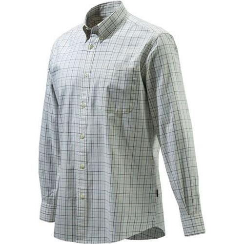 Beretta Men's Classic Drip Dry Shirt Long Sleeve in Ecru Check Size X-Large