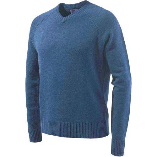 Beretta Men's Classic V-Neck Sweater in Blue size X-Large