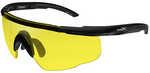 Wiley X Saber Advanced Sunglasses, Matte Black Frame, Pale Yellow Lens    Features:    - Shatterproof Selenite™ Polycarbonate lenses that meet the MIL-PRF-32432(GL) ballistic standards: ANSI Z87.1-201...