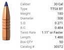 Barnes .30 Caliber 180 Grain TSX Boattail Bullet 50 Per Box Md: 30879