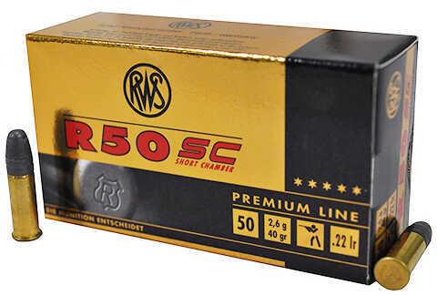RWS 22 Long Rifle R50 SC (Short Chamber), 40 Grains, Lead Round Nose, 50 Per Box Md: 2318602