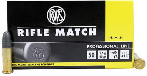 RWS Rifle Match 22 Long Rifle 40 Grain Lead Round Nose Ammunition, 50 Rounds Per Box Md: 2134225