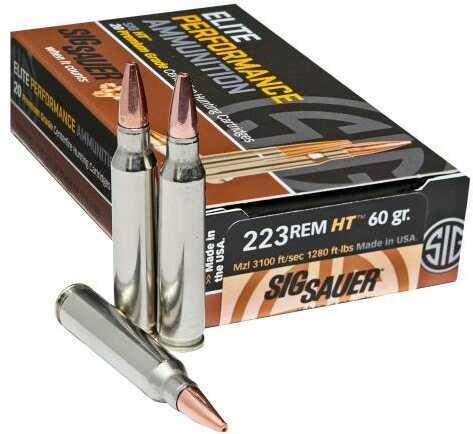 Sig Sauer Elite Performance .223 Remington 60 Grain Expanding Point Ammunition, 20 Rounds Md: E223H1-20