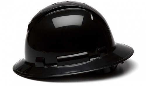 Pyramex Safety Products Ridgeline Full Brim Hard Hat 4 Point Ratchet, Black Md: HP54111