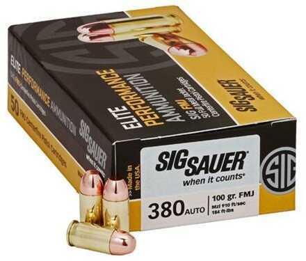 Sig Sauer Elite Performance .380 ACP 100 Grain Full Metal Jacket Ammunition, 200 Rounds Md: E380B1-200
