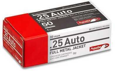Aguila 25 ACP Full Metal Jacket 50 Grain Ammunition, 50 Rounds Per Box Md: 1E252110