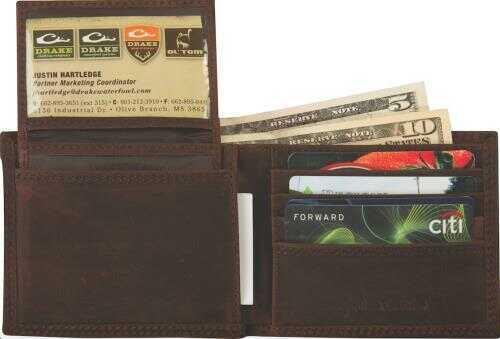 Drake Leather Bi-Fold Wallet, Brown Md: DA7006-BRN