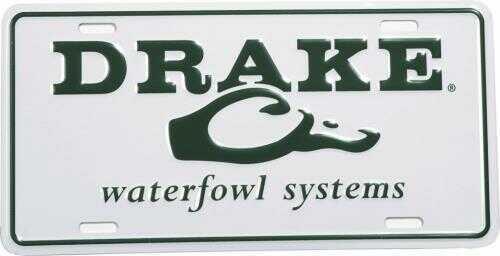 Drake WaterfowlDrake Script Logo License Plate WHT