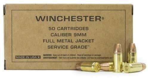 Winchester 9mm Luger 115 Grains FMJ Flat Nose Service Grade Ammo Per Box Of 50 SG9W