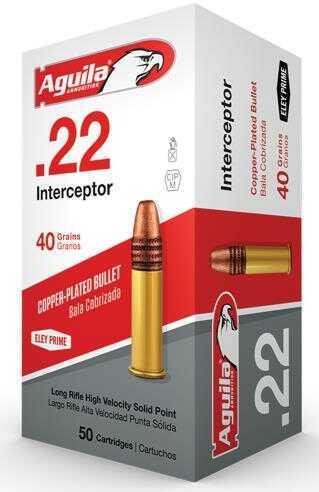 Aguila Interceptor 22 Long Rifle (LR) 40 Gr Solid Point 50 Bx/ 100 Cs