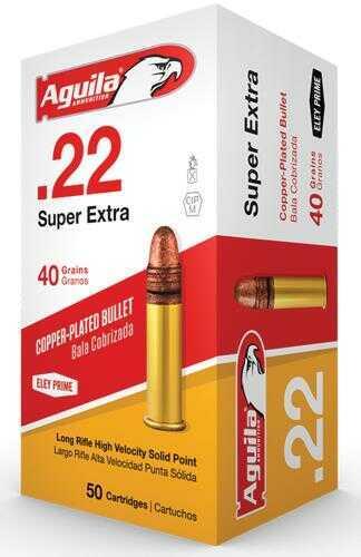 Aguila Ammunition .22 Long Rifle (LR) Super Extra High Velocity Ammunition, 40 Grains, Plated Lead Round Nosem, Per 50