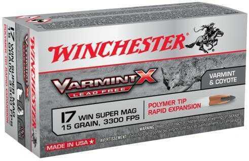 Winchester Ammo Varmint X 17 Winchester Super Magnum (WSM) 15 Grain Polymer Tip Lead Free 50 Bx