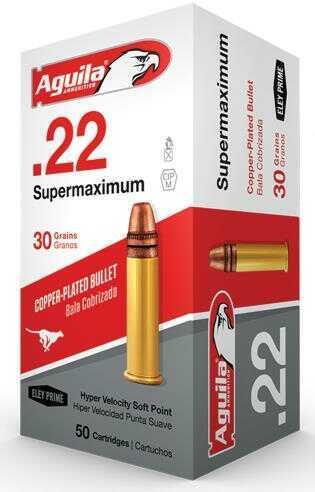 Aguila Ammo .22LR Super Max 1700Fps. 30Gr. Lead RN 50-Pack