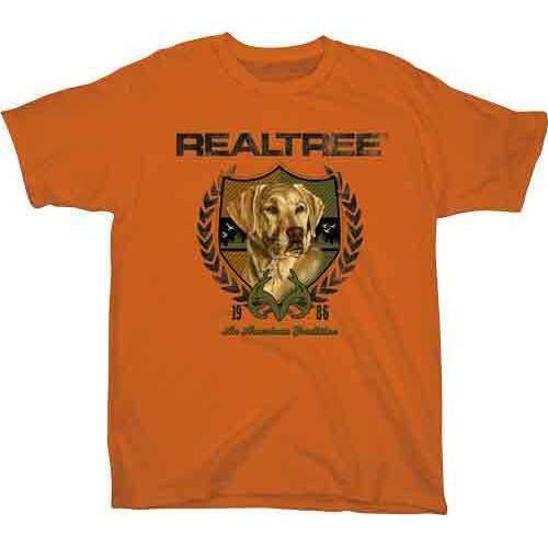 "Real Tree YOUTH'S T-Shirt ""Lab Crest"" Medium Texas Orange<"