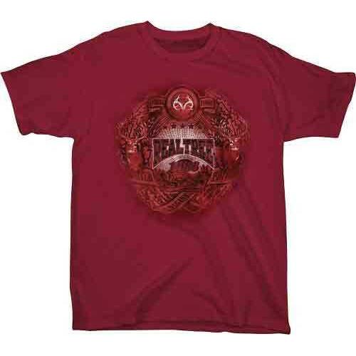 "Real Tree YOUTH'S T-Shirt ""Badge"" Medium Cardinal<"