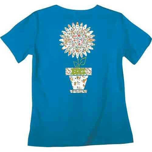 "Real Tree WOMEN'S T-Shirt ""BLOOMING"" Medium Cobalt W/Graphic<"