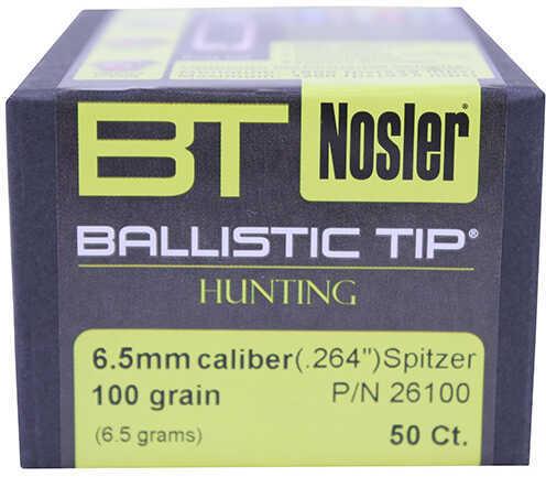 Nosler 6.5mm/264 Caliber 100 Grains Spitzer Ballistic Tip Per 50 Md: 26100 Bullets
