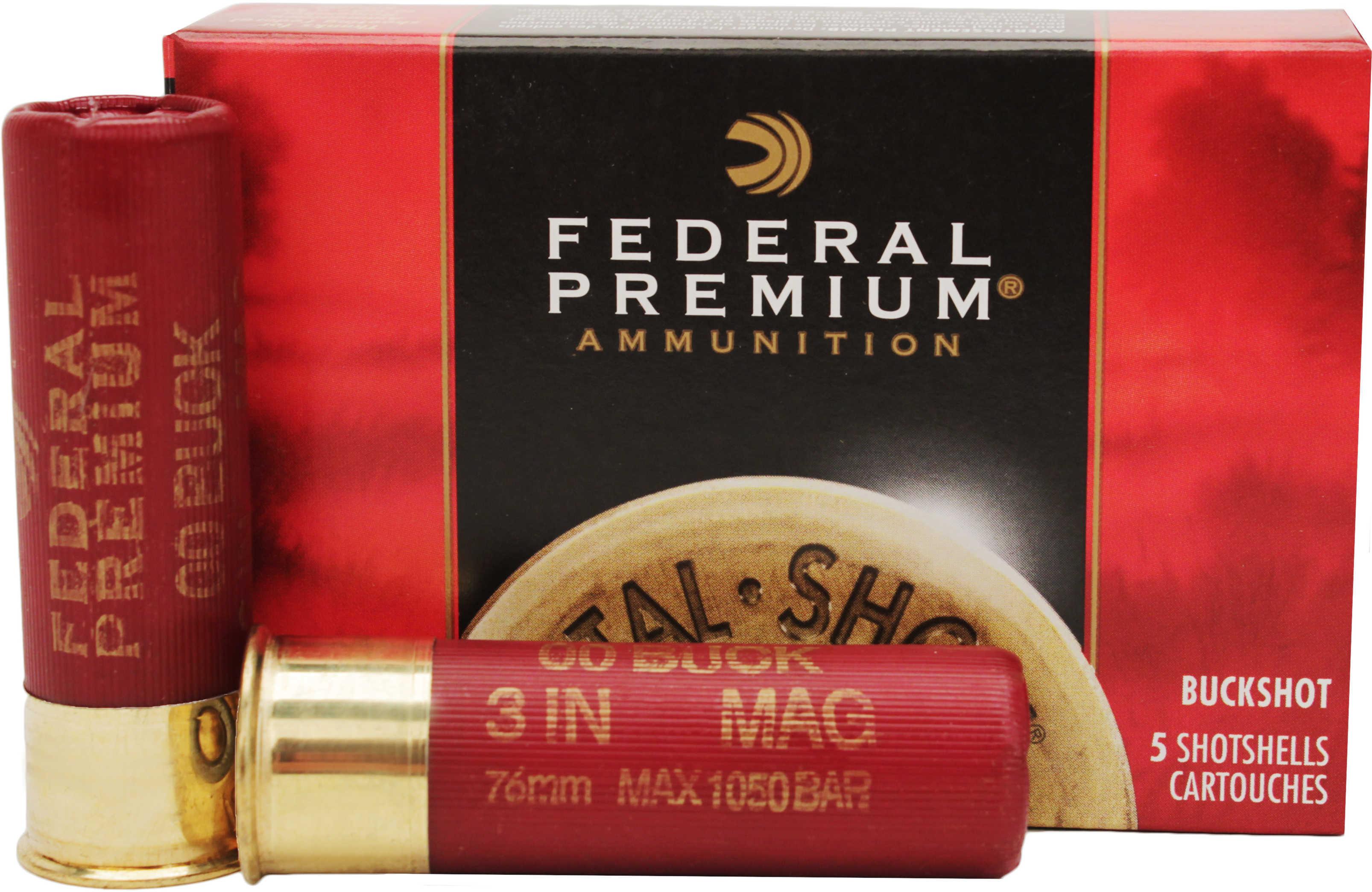 "Federal 12 Gauge Premium Buckshot Loads 3"" Mag Dram 15 Pellets 00 Buck Per 5 Ammunition Md: P15800"