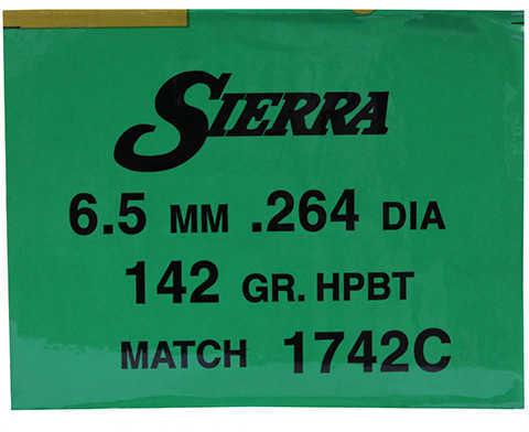 Sierra 6.5mm/264 Caliber 142 Grains HPBT Match Per 500 Md: 1742C Bullets