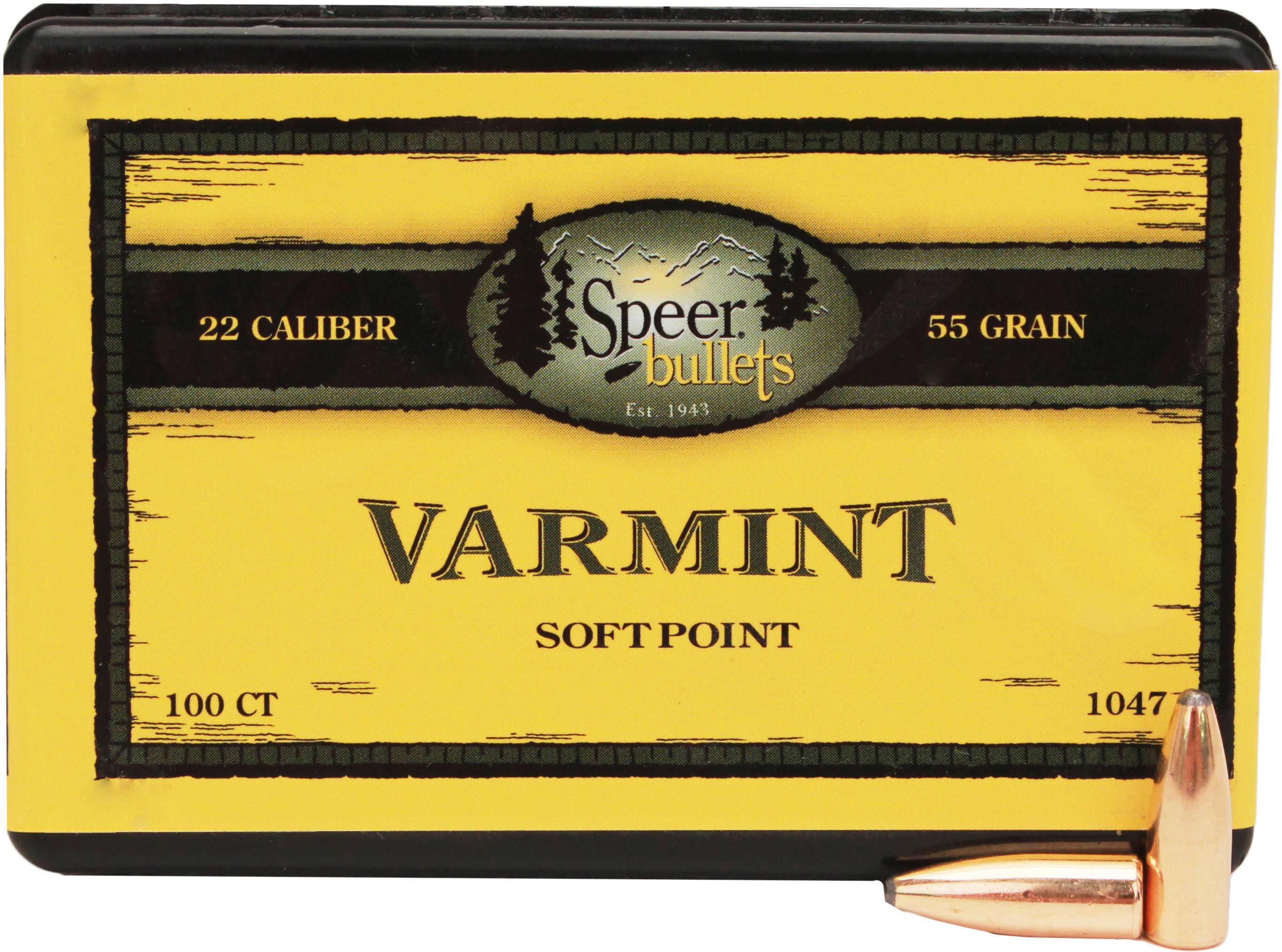 Speer 22 Caliber .224 55 Grains Spitzer SP Per 100 Md: 1047 Bullets