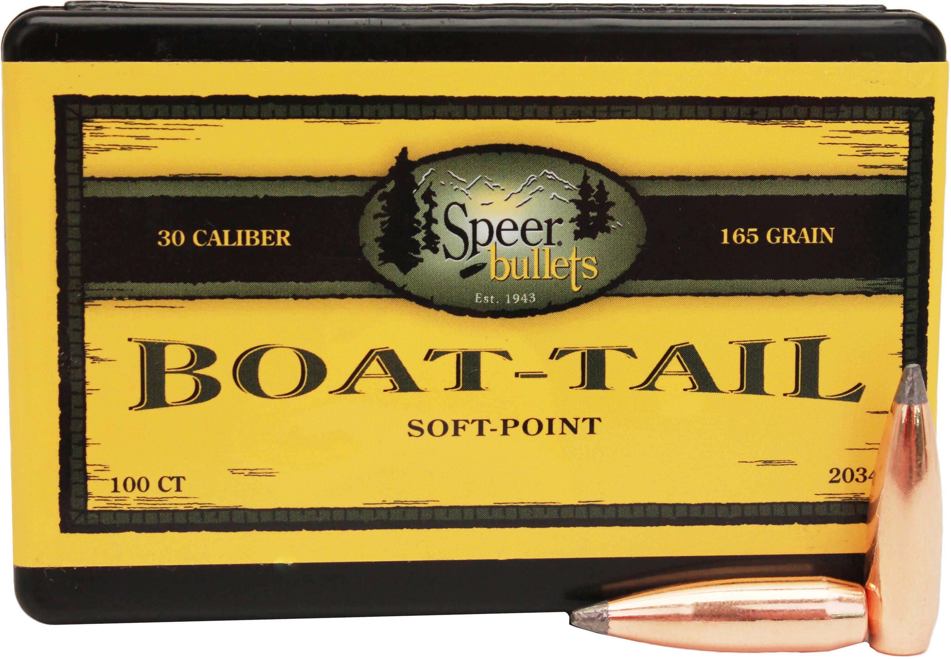 Speer 30 Caliber 165 Grains Spitzer SP BT Per 100 Md: 2034 Bullets