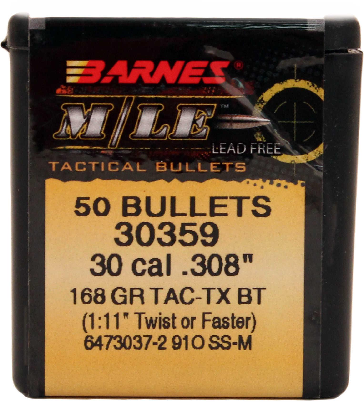 Barnes 30 Caliber (.308) TACTX-BT 168 Grains Per 50 Md: 30856 Bullets