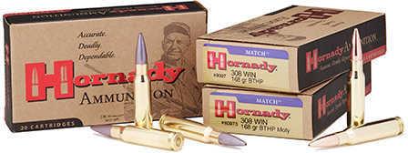 308 Winchester By Hornady 308 Winchester 168 Grain BTHP Match Per 20 Ammunition Md: 8097