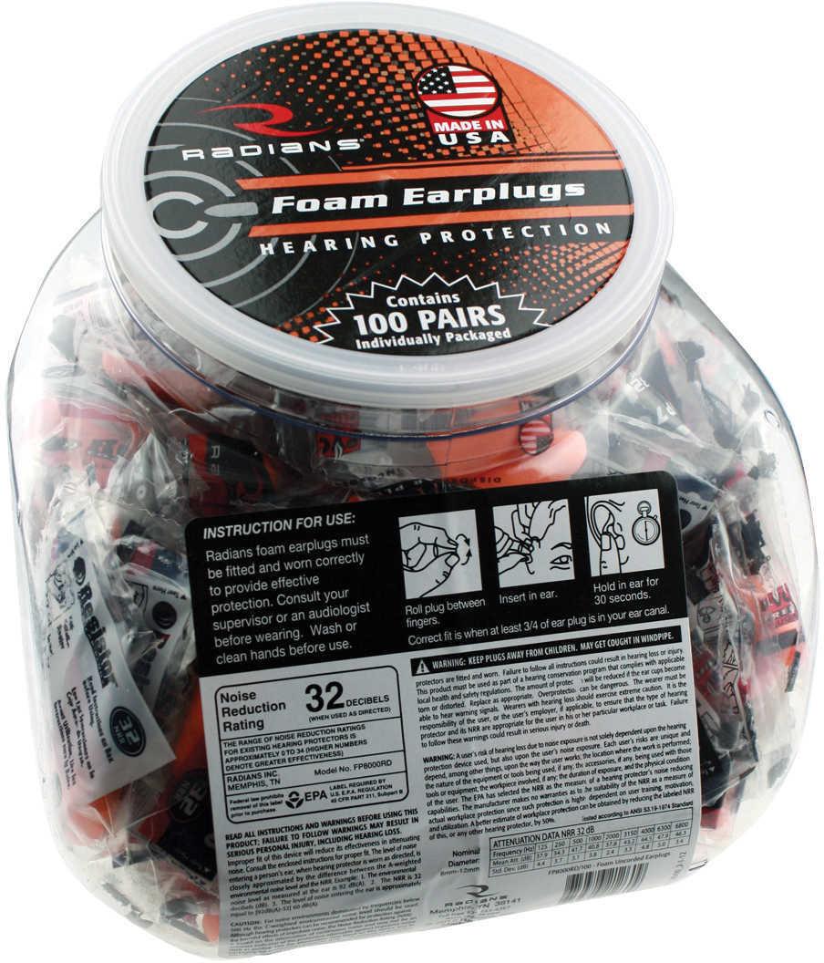 Radians Foam Earplugs UncoRded, 100 Pair Md: FP8000Rd/100