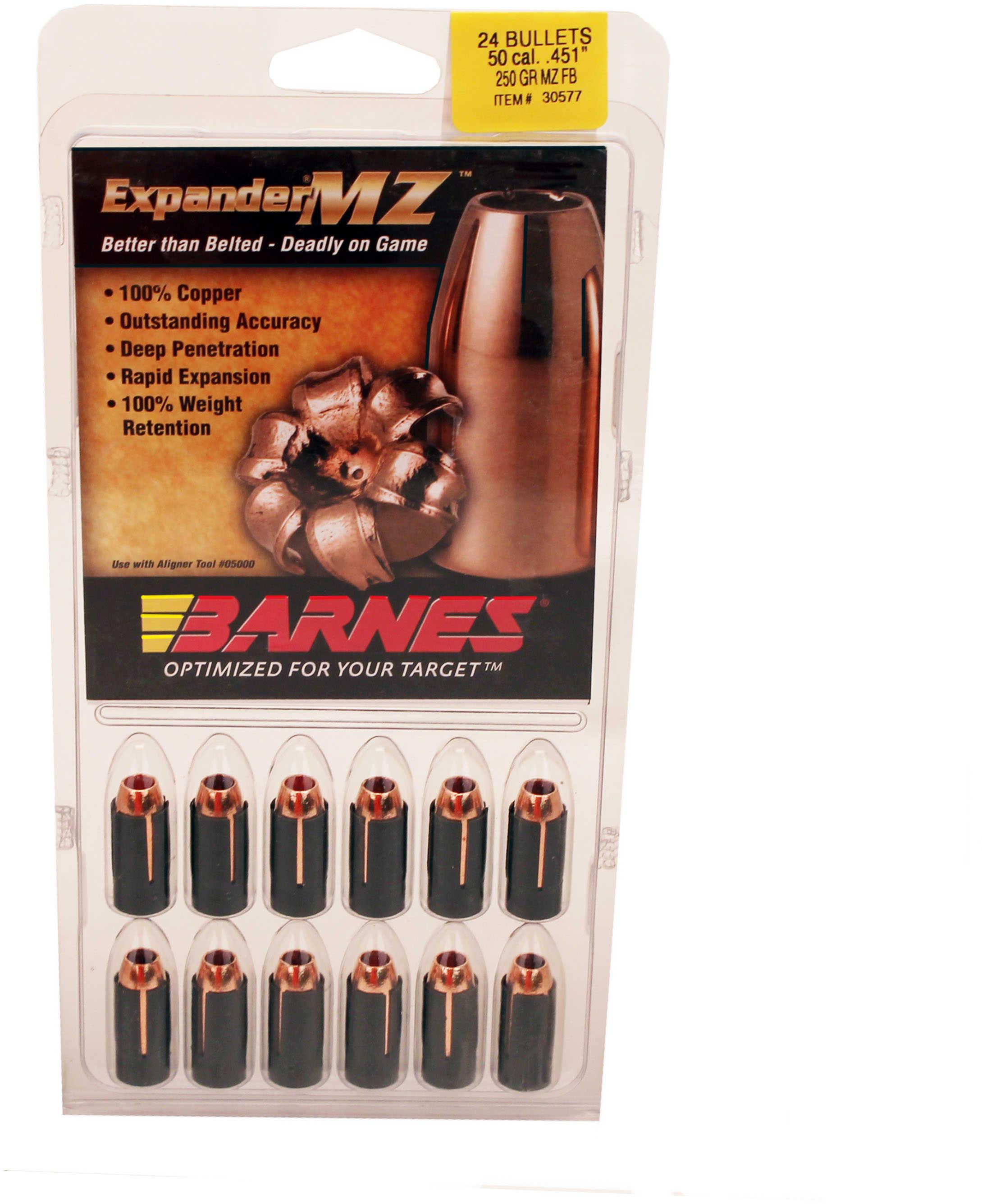 Barnes 50 Caliber Expander MZ Bullets 250 Grain Expander Muzzleloader Per 24 Md: 45152
