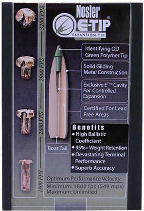 Nosler E Tip, 30 Caliber, 180Grain Bullets Per 50 Md: 59180