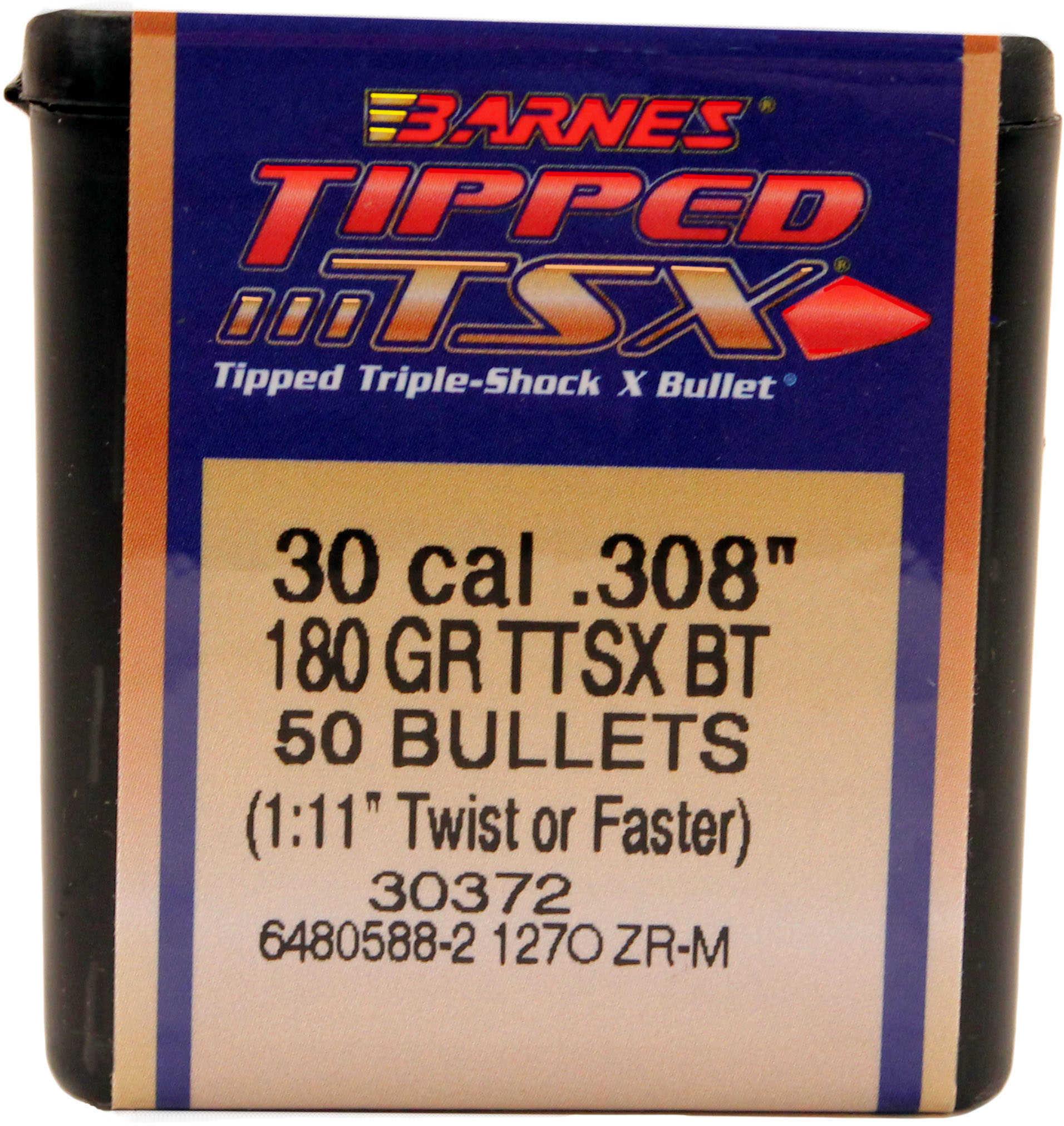 Barnes 30 Caliber 180 Grain Tipped Triple Shok X Boat Tail Per 50 Md: 30879 Bullets