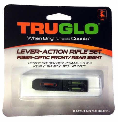 Truglo TG114 Lever Action Rifle Set Henry Lever Tritium/Fiber Optic Red Front/Green Rear Black