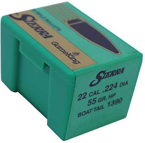 Sierra Gameking 22 Caliber 55 Grain Boat Tail Hollow Point 100/Box Md: 1390 Bullets